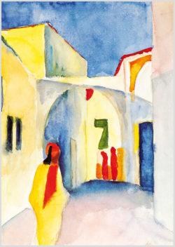 """Das Gemälde """"Blick in eine Gasse"""" von August Macke aus dem Akustikbilder Katalog der Firma AkuTec"""