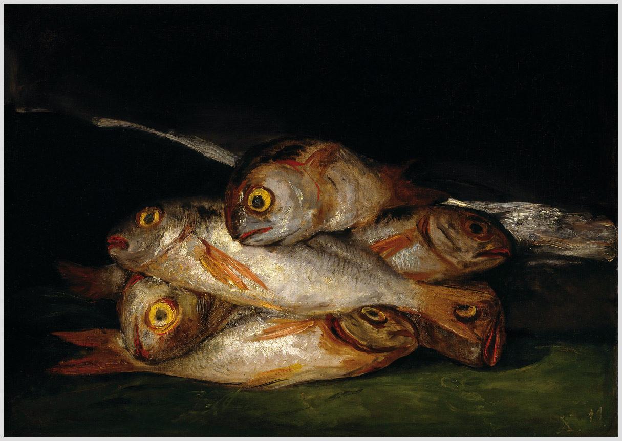 """Das Gemälde """"Stilleben mit Brasse"""" von Francisco de Goya aus dem Akustikbilder Katalog der Firma AkuTec"""