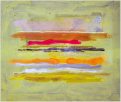 """Das Gemälde """"Horizontstreifen"""" von Richard Fuchs aus dem Akustikbilder Katalog der Firma AkuTec"""