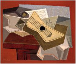 """Das Gemälde """"Gitarre und Zeitung"""" von Juan Gris aus dem Akustikbilder Katalog der Firma AkuTec"""