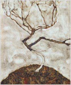 """Das Motiv """"Kleiner Baum im Spätherbst"""" von Egon Schiele aus dem Akustikbilder Portfolio der Firma AkuTec"""